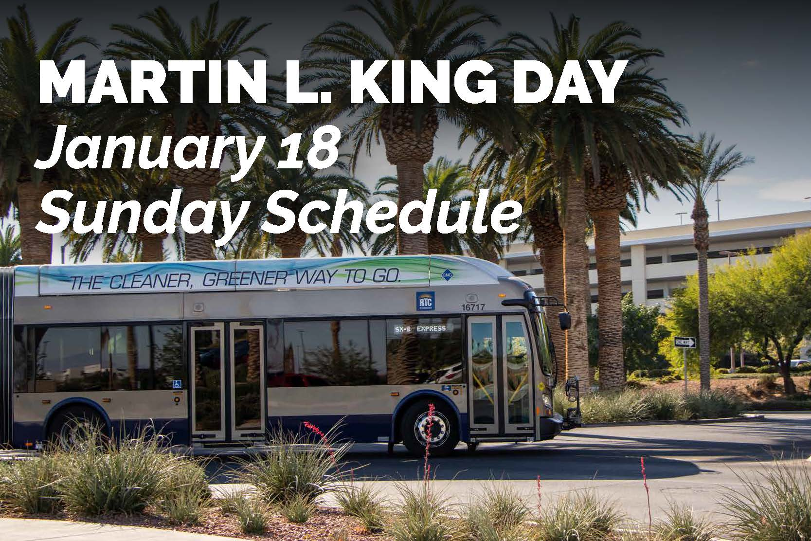 RTC to operate on Sunday transit schedule, participate in virtual parade celebration for Martin Luther King Jr. Day holiday