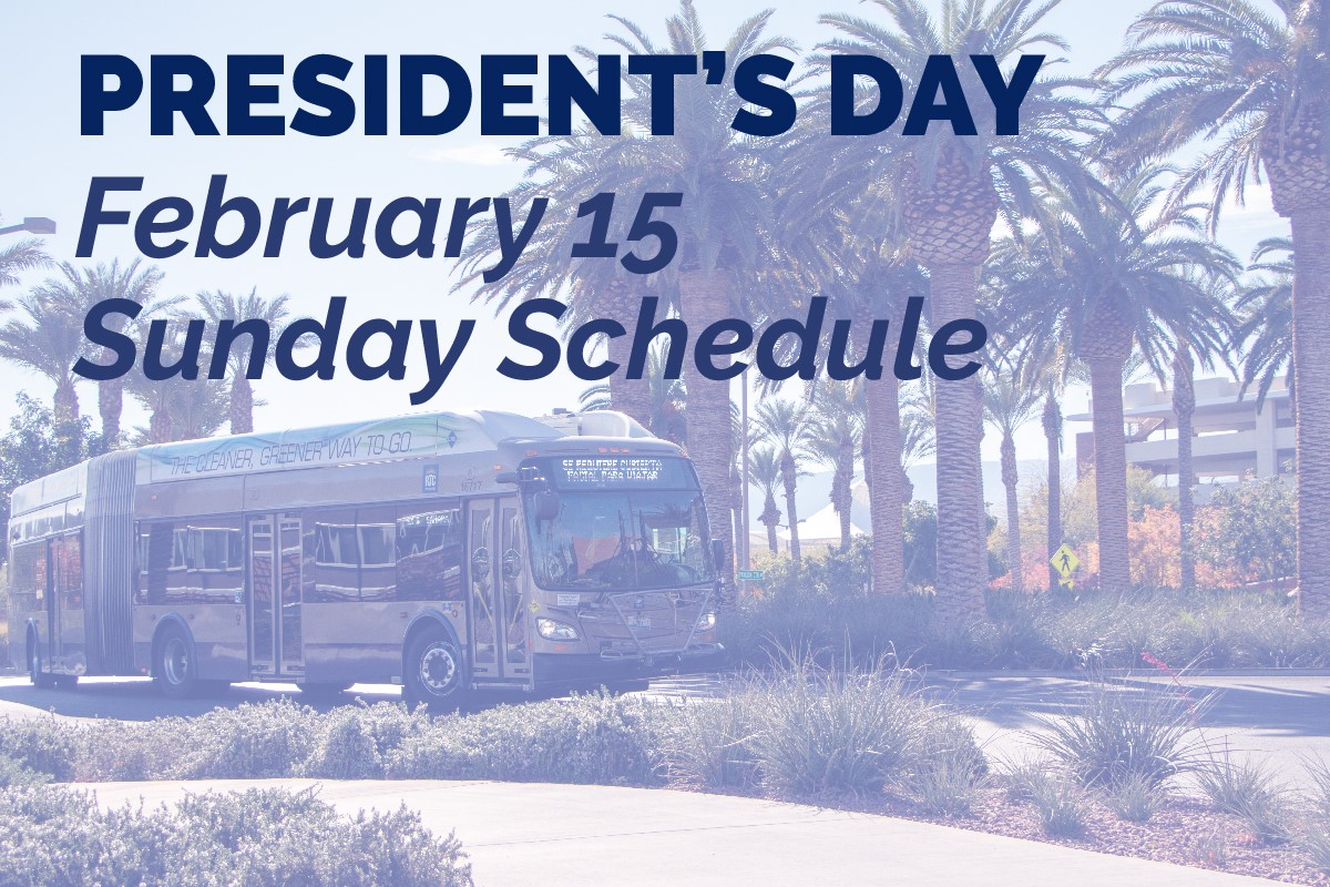 RTC to operate on Sunday transit schedule for Presidents Day holiday; reminds riders about face mask policy